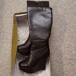 Dark chocolate brown platform wedge boots